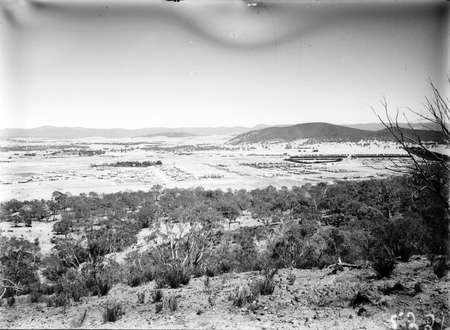 Reid and Braddon from Mt Ainslie, Ainslie Hotel on right, Civic Centre in centre, Black Mountain on the horizon.