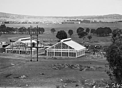 CSIR Insectarium and  building under construction, Clunies Ross Street, Black Mountain. Civic Centre buildings at the rear