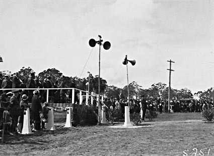 Anzac Day 1929 , War Memorial site .  Official dias for the March Past