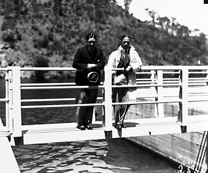 Cotter Dam .Men on bridge to valve tower