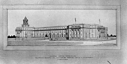 Drawing; Perspective view of proposed Government Printing Office and Department,( Administrative Building),  Canberra.