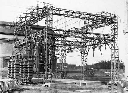 Electricity transmission switch yard at Kingston Power Station