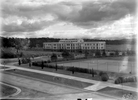 Tennis courts and West Block Offices from Parliament House