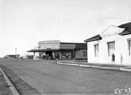 Mort Street, Braddon at Canberra Times corner, Canberra Garage on opposite corner.