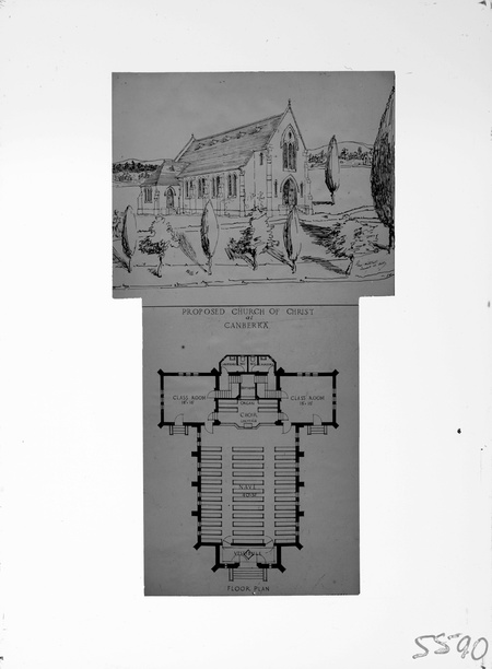 Perspective and plan of proposed Church of Christ for Limestone Avenue, Ainslie