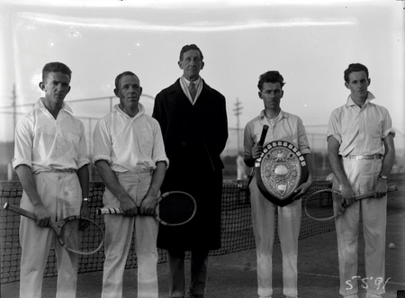 Australian Capital Territory Lawn Tennis Association. Winners of the Permanent Heads Shield with Sir Robert Garran at Manuka Tennis Courts. Left to right: F. Murray, K. Carnall, Sir Robert Garran, unknown and Ally Nish.