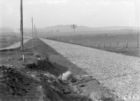 Road under construction, possibly Queanbeyan road.