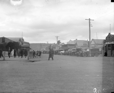 Right side of Monaro Street, Queanbeyan looking north from intersection of Monaro and Lowe Streets.