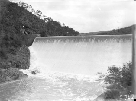 Cotter Dam wall overflowing into the stilling pond.