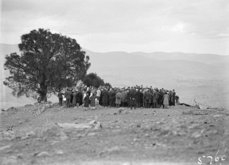 Funeral of Director of Commonwealth Solar Observatory, Dr. W G Duffield on Mt Stromlo. Graveside ceremony conducted by Dr. Radford.