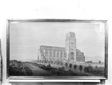 Perspective drawing of proposed Catholic Cathedral for the designated site on Commonwealth Avenue, Civic Centre.