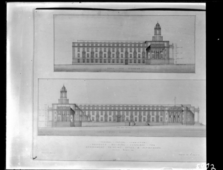 North-East and North-West elevations of Proposed Building for Government Printing Office and Departments, Wentworth Avenue, Kingston. Drawing AC 2016 and AC 2017.