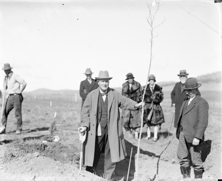 Tree planting ceremony by members of the Institute of Accountants. Sir John Butters holding the tree.