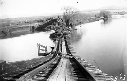 Wreckage of railway bridge, Floods of 1925 , Raillway line from  Kingston to Civic
