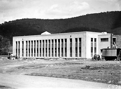 CSIR Offices and Laboratories Building with steam shovel . Clunies Ross Street, Black Mountain