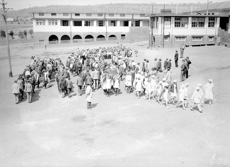 Assembly of pupils at Telopea Park School, New South Wales Crescent, Barton