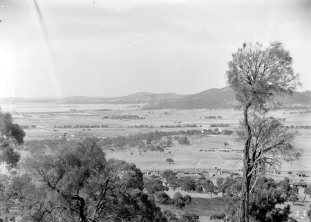 View from Red Hill over Forrest towards Civic Centre showing camp near Capital Hill, Commonwealth Avenue & Hotel Canberra