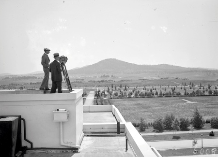 Photographs from  the roof of Parliament House, Mt. Ainslie behind