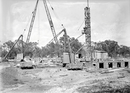 Foundations of Australian Institute of Anatomy with cranes, McCoy Circle Acton
