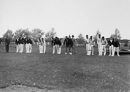 Royal Military College (RMC), Duntroon. Sports day: three legged race.