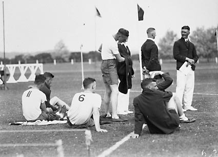 Royal Military College (RMC), Duntroon. Sports day: athletes resting.