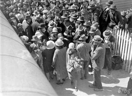 Arrival of Mr and Mrs. Scullin at Canberra Railway Station. Part of the welcoming crowd