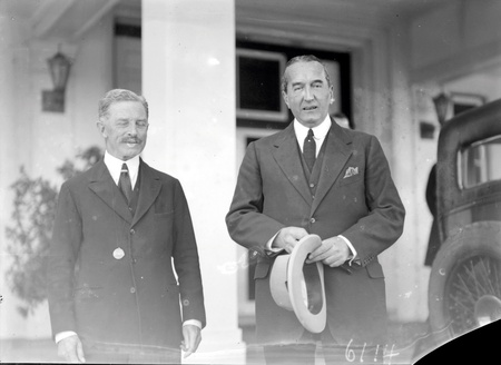 Rt Hon S.M Bruce Retiring Prime Minister and Lord Stonehaven, Governor General at Government House, Yarralumla