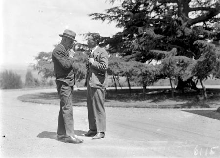 Two unidentified men outside Government House,Yarralumla