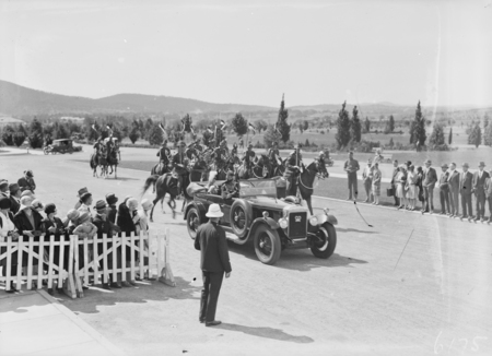 Arrival of the Governor General, Lord Stonehaven, with Light Horse escort for the opening of the 12th Parliament.