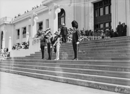 Governor General, Lord Stonehaven, and party at the salute at opening of the 12th Parliament.