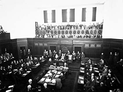 Senate Chamber  with Governor General,  Lord Stonehaven,  in President's  Chair for the opening of the 12th Parliament