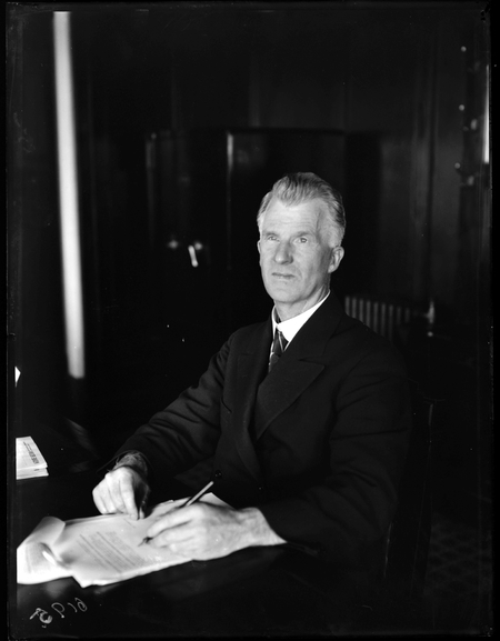 Portrait of Prime Minister James Henry Scullin PC in his office.