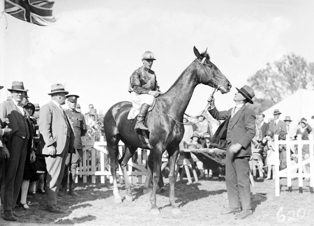 Horse with jockey and owner, St Patricks Day Race Club, Spring Cup Meeting at Acton Racecourse.