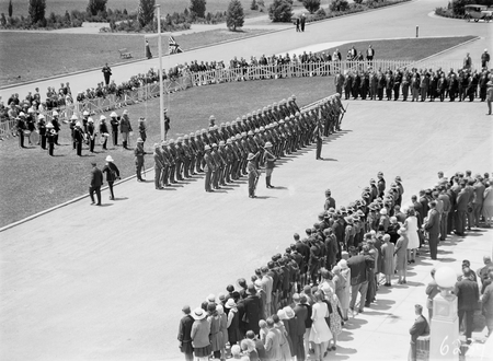 Armistice Day  Ceremony with the Royal Military College Cadets on parade in front of Parliament House.Inspection by  Prime Minister Scullin