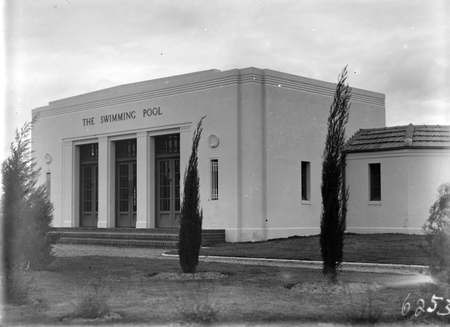 Manuka swimming pool, Manuka Circle. Front entrance.