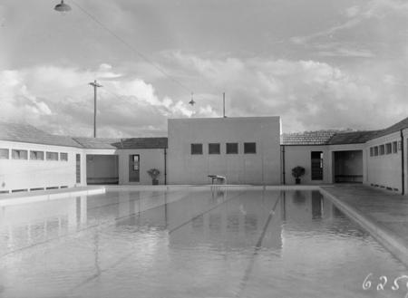 Manuka swimming pool, Manuka Circle. The deep end and springboard.