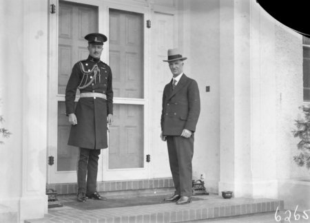 Prime Minister Rt Hon J.H. Scullin at Government House, Yarralumla with Military Secretary to the Governor General.