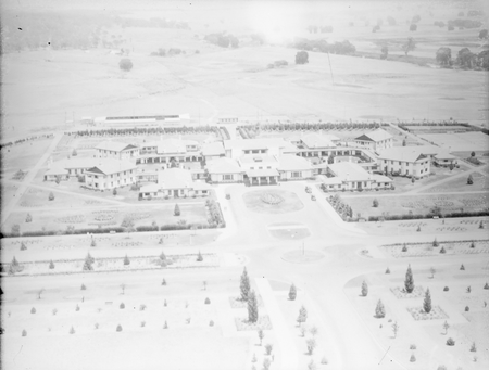 Aerial view of Hotel Canberra from the east.
