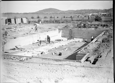 Manuka swimming pool under construction, Manuka Circle, Kingston.