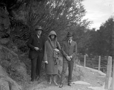 Two men and a lady at the Cotter Dam