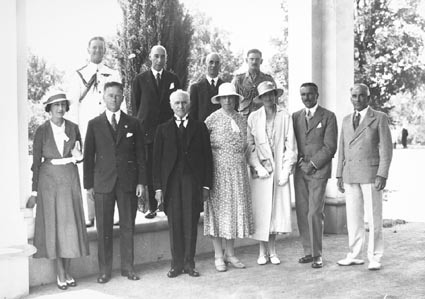 Group at Government House including Govenor General, Sir Isaac Isaacs, Lady Isaacs and Hon TW White, Minister for Trade and  Customs, Mr. R.G.Casey