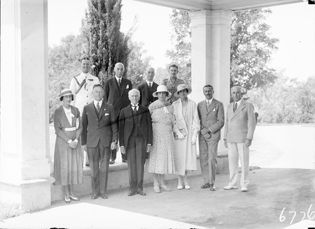 Group at Government House including Govenor General, Sir Isaac Isaacs, Lady Isaacs and Hon TW White, Minister for Trade and Customs, Mr. R.G.Casey.