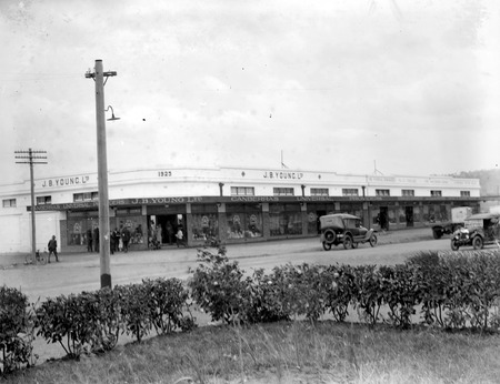 J B Youngs store at Kingston with motor vehicles