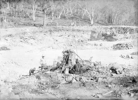 Workman in the excavation of the reservoir at Black Mountain.