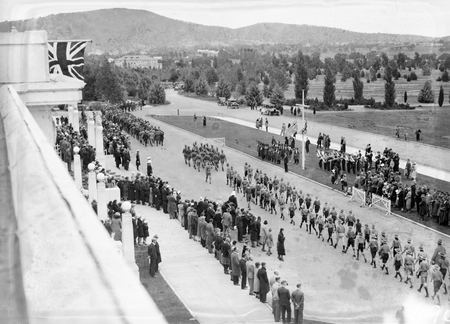 Anzac Day 1933. Boy Scouts marching past the Govenor General Sir Isaac Isaacs in front of Parliament House.