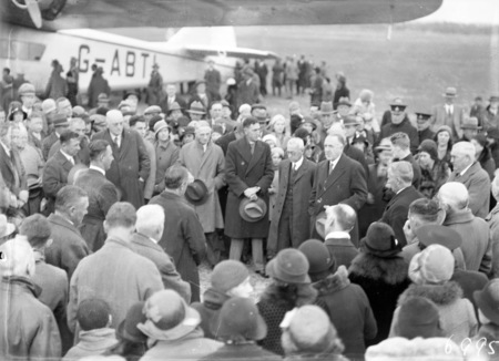 Visit of Imperial Airways Airliner ASTRAEA on a survey flight for proposed air mail service. Distinguished visitors being formally welcomed by  Sir George Pearce, Minister for Defence.