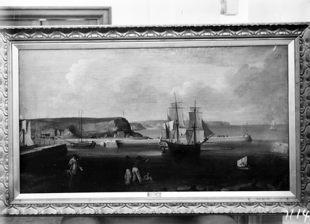 Photograph of a painting of a harbour and a sailing ship.