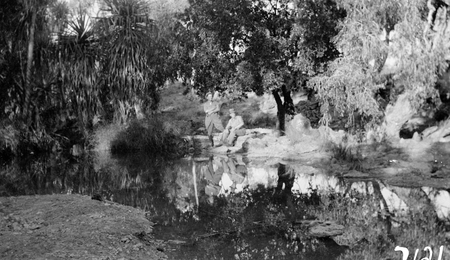 Unknown river scene near Canberra, with two men.