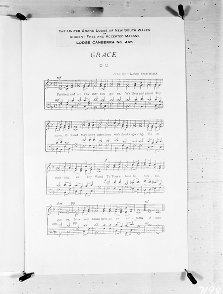 Words and music for a Masonic grace. Lodge Canberra 465.