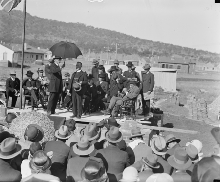 Ceremony of the laying of the Foundation Stone of the Methodist National Memorial Church, Coranderk Street, Reid.